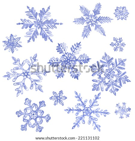 Set of watercolor snowflakes isolated on white. - stock vector