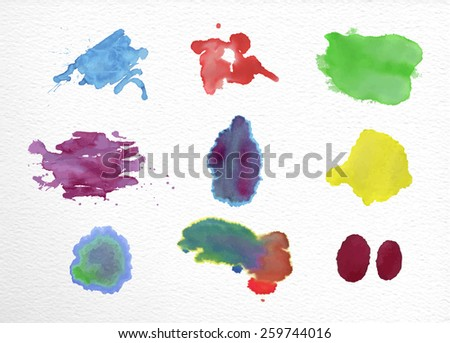 Set of watercolor stains elements hand drawn illustration. EPS10 vector file organized in layers for easy editing. - stock vector