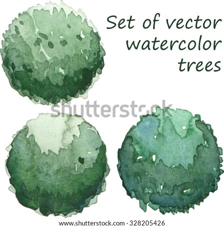 Set of watercolor trees, top view, vector - stock vector