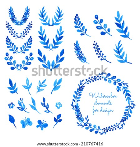 Set of watercolor wreaths, laurels, branches, leaves. Hand painted elements for design. Aquarelle frame. Vector templates. - stock vector