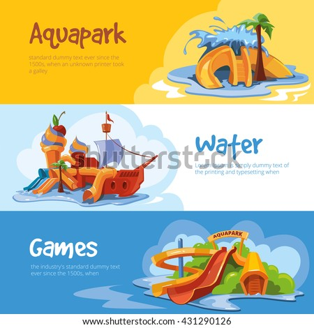 Set of Waterslide in an aquapark. Vector illustrations. Cartoon concept design for web, site, advertising, banner, poster, board and print. Pictures with place for your text - stock vector