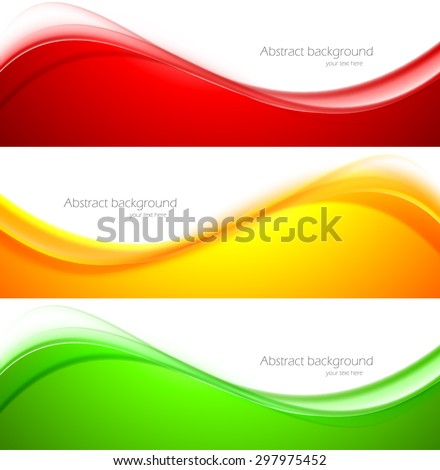 Set of wave banners abstract vector illustration - stock vector