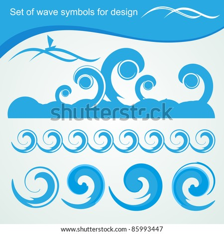 Set of wave symbols for design - stock vector