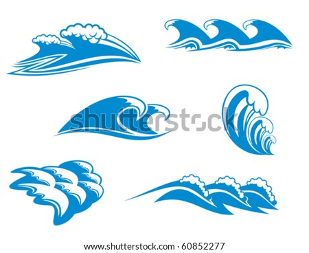 Set of wave symbols for design - also as emblem, such emblem or logo template. Jpeg version also available in gallery - stock vector