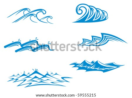 Set of wave symbols for design isolated on white - also as emblem or logo template. Jpeg version also available - stock vector