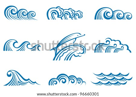 set of waves - stock vector