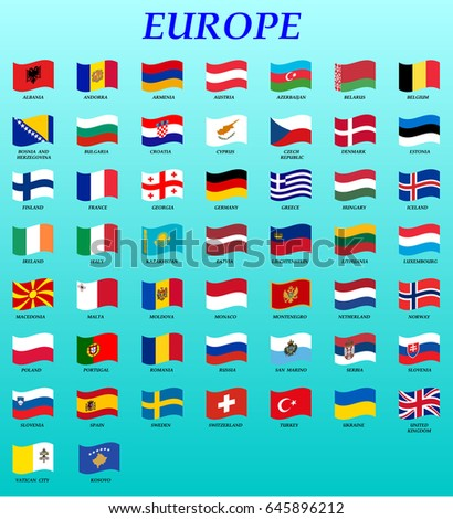 set of waving flags of Europe vector illustration