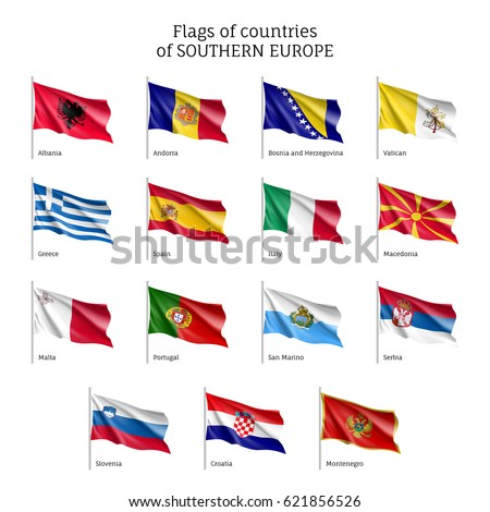 Set of waving flags of European countries: Bosnia-Herzegovina, Croatia and Macedonia, Montenegro and Portugal. 15 ensigns on flagpole of Southern Europe states. Vector isolated icons
