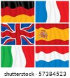 Set of waving textile European flags-vector without gradients - stock photo