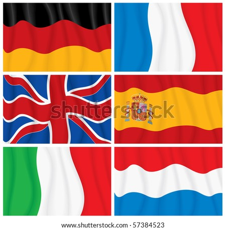 Set of waving textile European flags-vector without gradients - stock vector