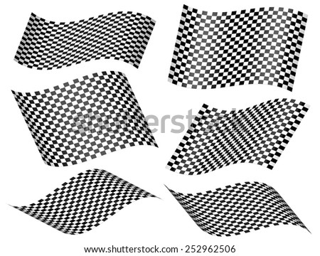 Set of wavy Chequered racing flags or checkered planes - stock vector