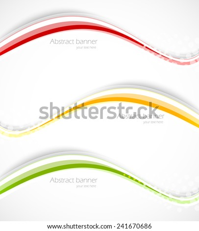 Set of wavy lines abstract banners in green orange red color - stock vector
