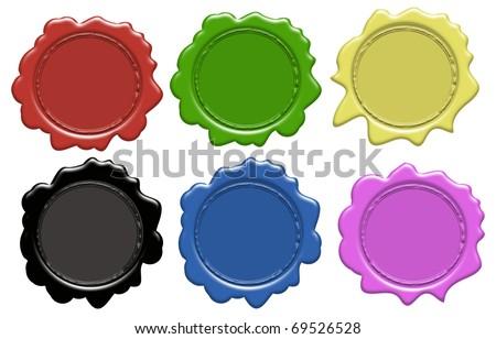 Set of wax seals (gradient only) 6 colors, vector illustration - stock vector