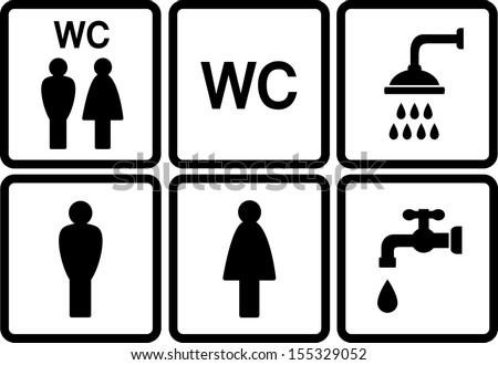 set of wc icons with shower and tap on white background - stock vector