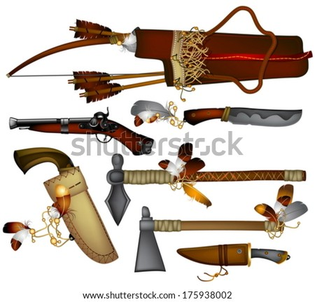 set of  weapons American Indian  - stock vector