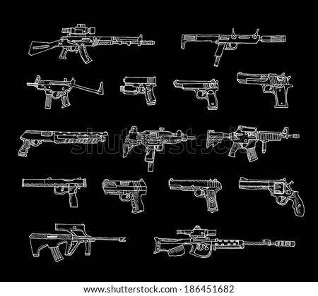 Set of weapons in vector isolated on a black background. - stock vector