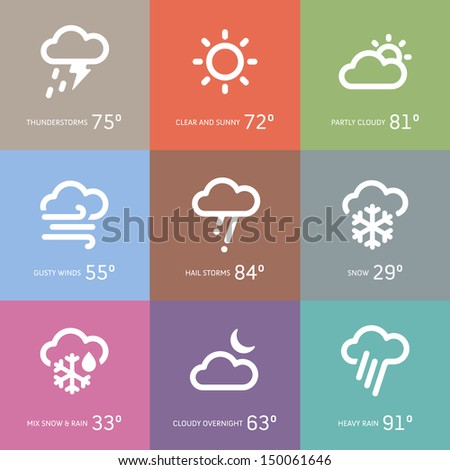 Set of weather and storm symbol icons - stock vector