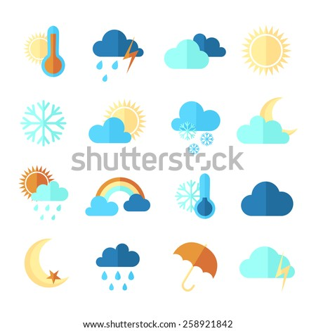 Set of weather icons. Flat style, vector illustration