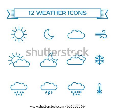 Set of weather icons for design of web interface or mobile widget. Vector illustration.