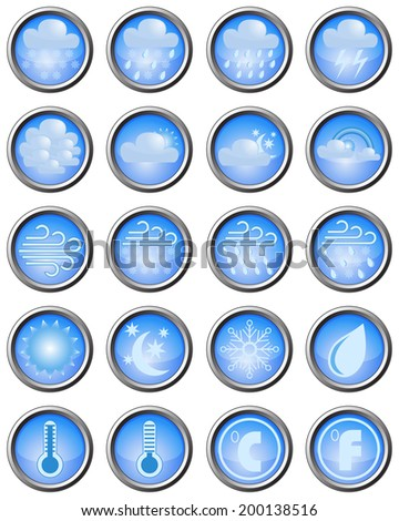 Set of weather icons in blue buttons. - stock vector