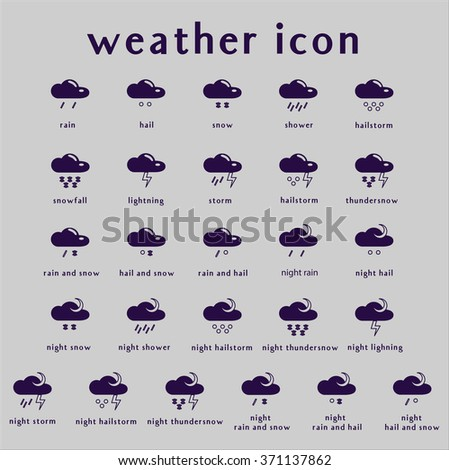 Set of weather icons. Part 2. Vector illustration. - stock vector