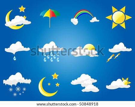 Set of weather symbols - stock vector