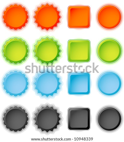 Set of web badges, collection of buttons - stock vector