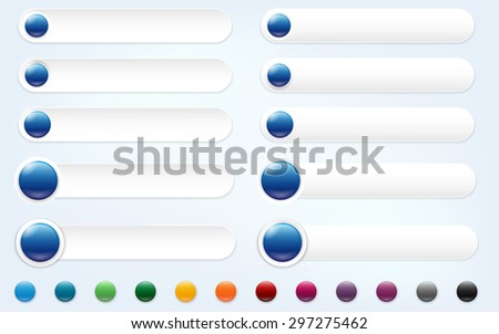 Set of web banners and glossy circle buttons with place for your text and icons - vector illustration - stock vector