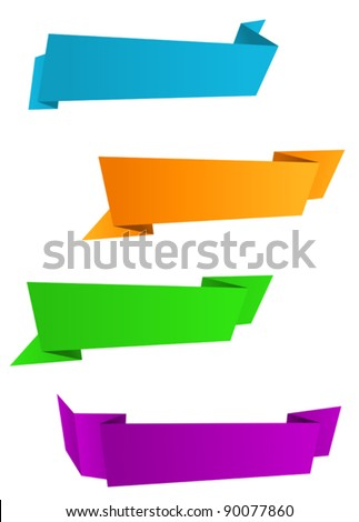 Set of web banners in origami style for web design. Jpeg version also available in gallery - stock vector