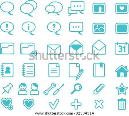 Set of web, blue, basic icons - stock vector