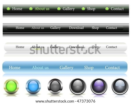 Set of web buttons - stock vector
