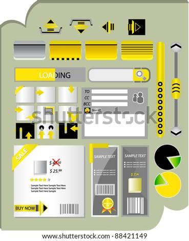 set of web buttons banners,  navigation  editable - stock vector