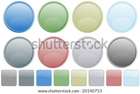 Set of web buttons in eight metallic colors - stock vector