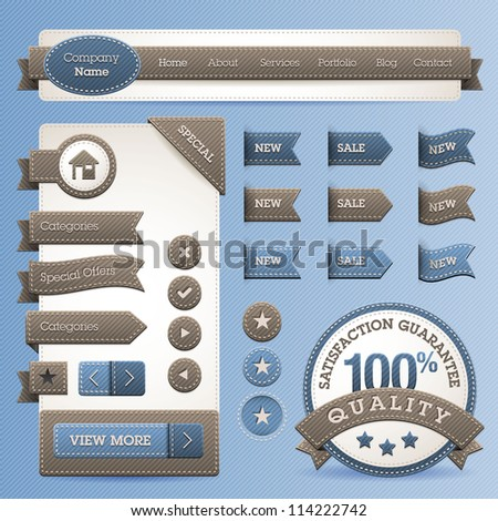 Set of web design elements with jeans texture - stock vector