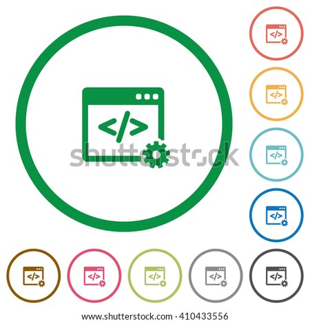 Set of Web development color round outlined flat icons on white background - stock vector