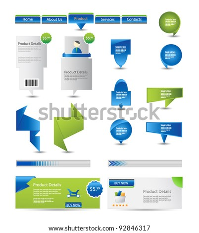 set of web elements and web banners