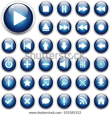 Set of web icons, buttons - stock vector