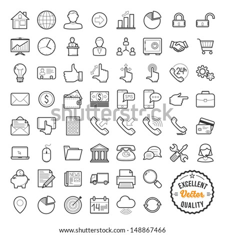 Set of web icons for business, finance and communication - stock vector