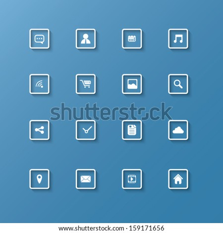 Set of web icons in clean modern design in 3d frame with shadow - stock vector