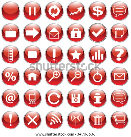 Set of 36 web icons in red and white - stock vector