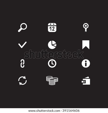 Set of web icons include: Search, purse, link, arrow, calendar, chain, bookmark; clock, check mark, money, flag. White Website Icons on black background. SEO Icons - stock vector