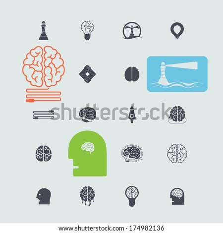 Set of web icons. Vector simple, two-dimensional - stock vector