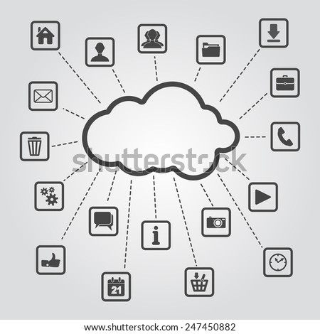 set of web, multimedia and business icons on a grey background - internet of things - stock vector