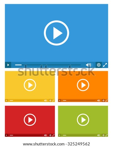 set of web video players in five colors - stock vector