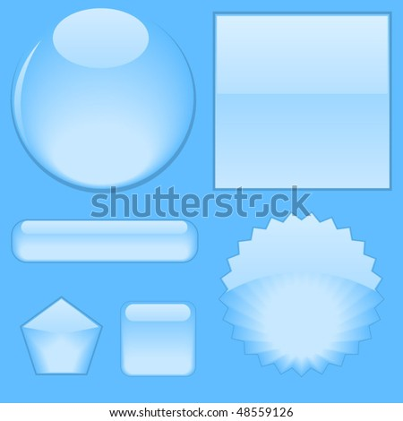 Set of web water buttons - stock vector