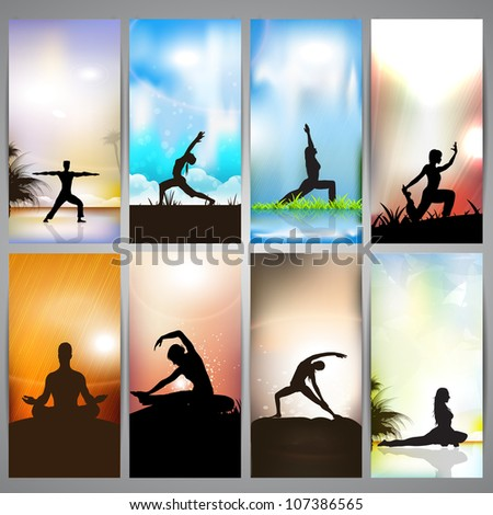 Set of website banners of yoga or meditation. EPS 10
