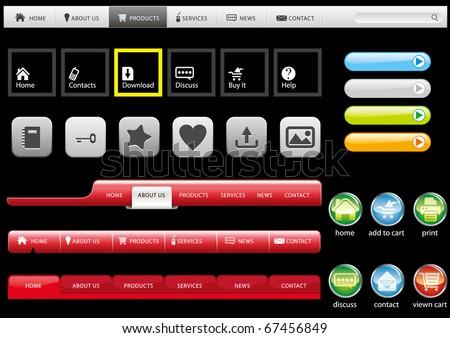 Set of website buttons, vector illustration - stock vector