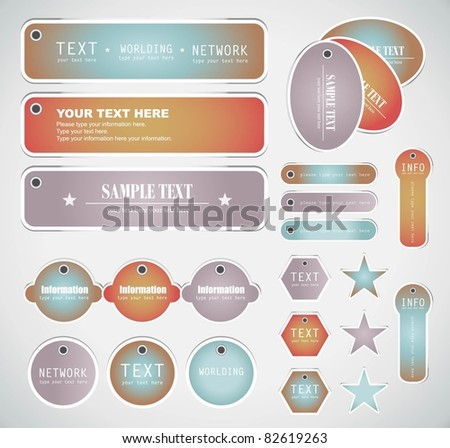 set of website elements (can use for bookmark, sticker & website) - stock vector
