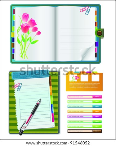 Set Of website template design. Notebooks With Colored Tabs And Lined Pages - personal for programmer and designer.