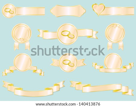 Set of wedding and love ribbons, badges and labels. Vector illustration. Each design element is on a separate layer.